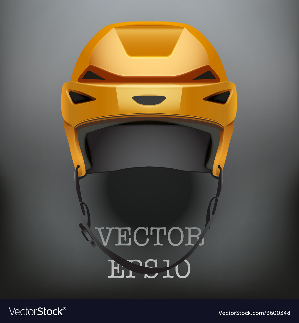 Background of classic orange ice hockey helmet vector | Price: 1 Credit (USD $1)