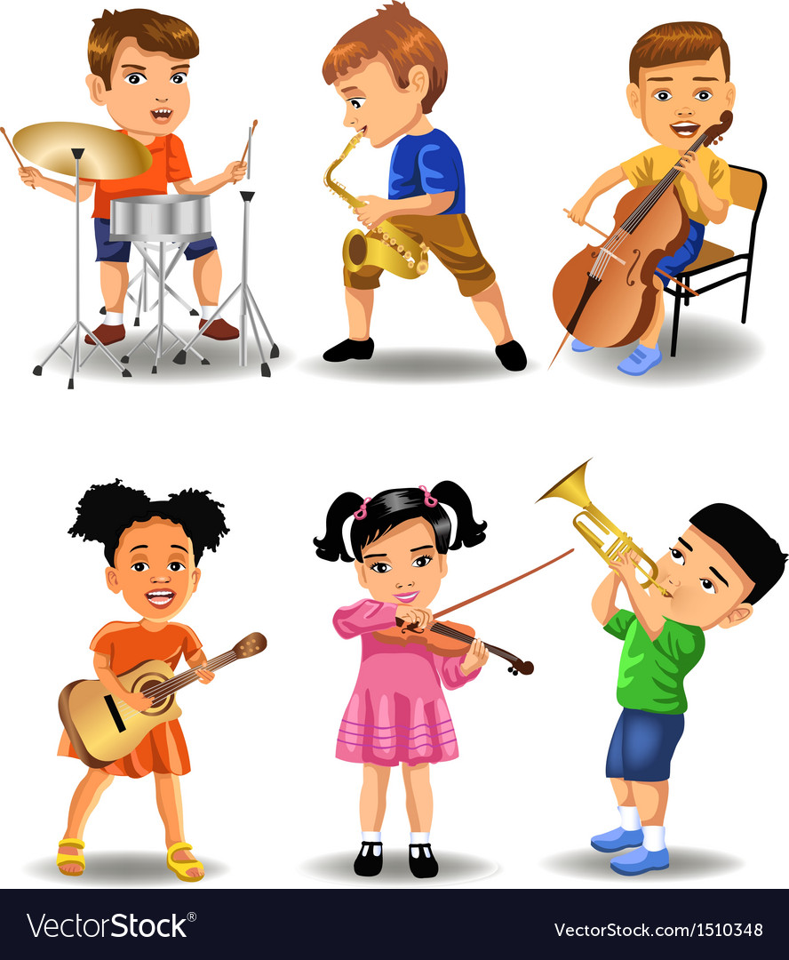 Children playing instruments vector | Price: 3 Credit (USD $3)