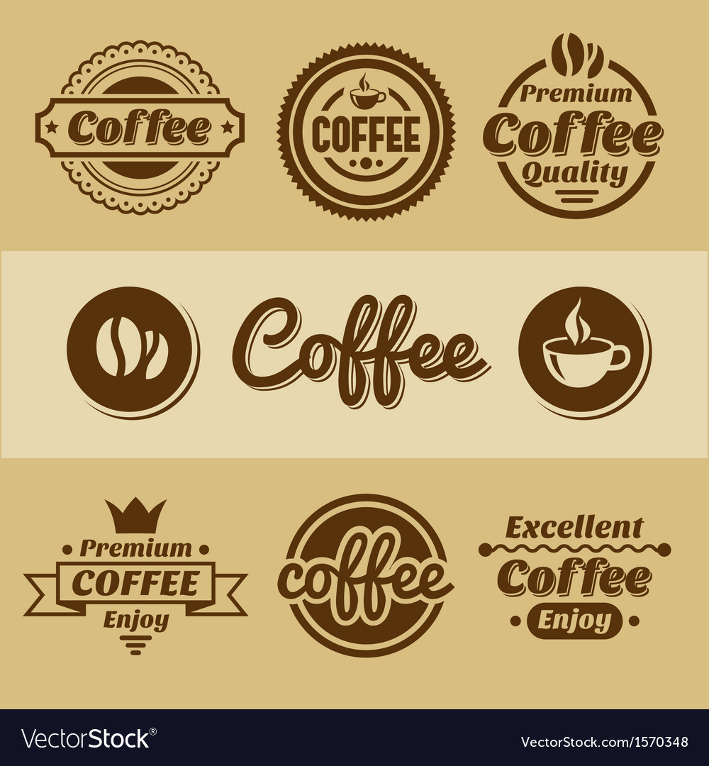 Coffee labels and badges retro style coffee vector | Price: 1 Credit (USD $1)