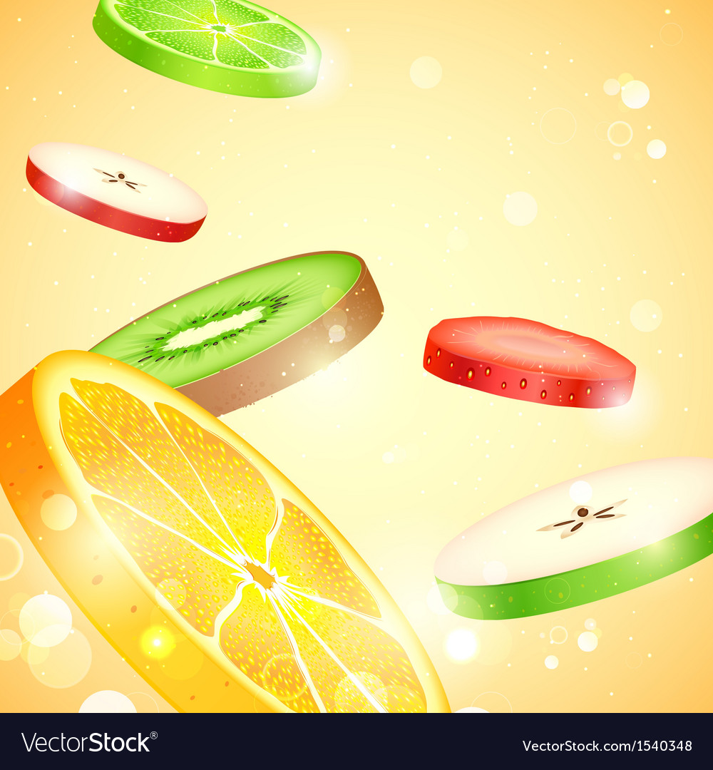 Fresh fruit slices vector | Price: 3 Credit (USD $3)