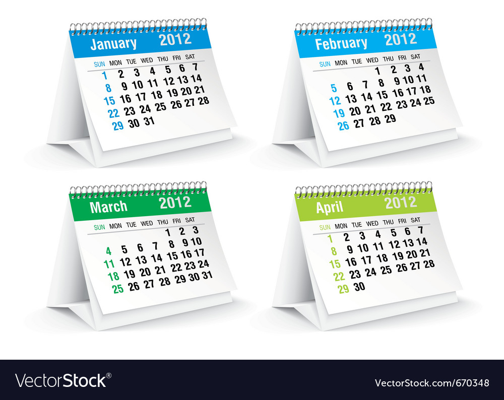 Jan to april calendars vector | Price: 1 Credit (USD $1)