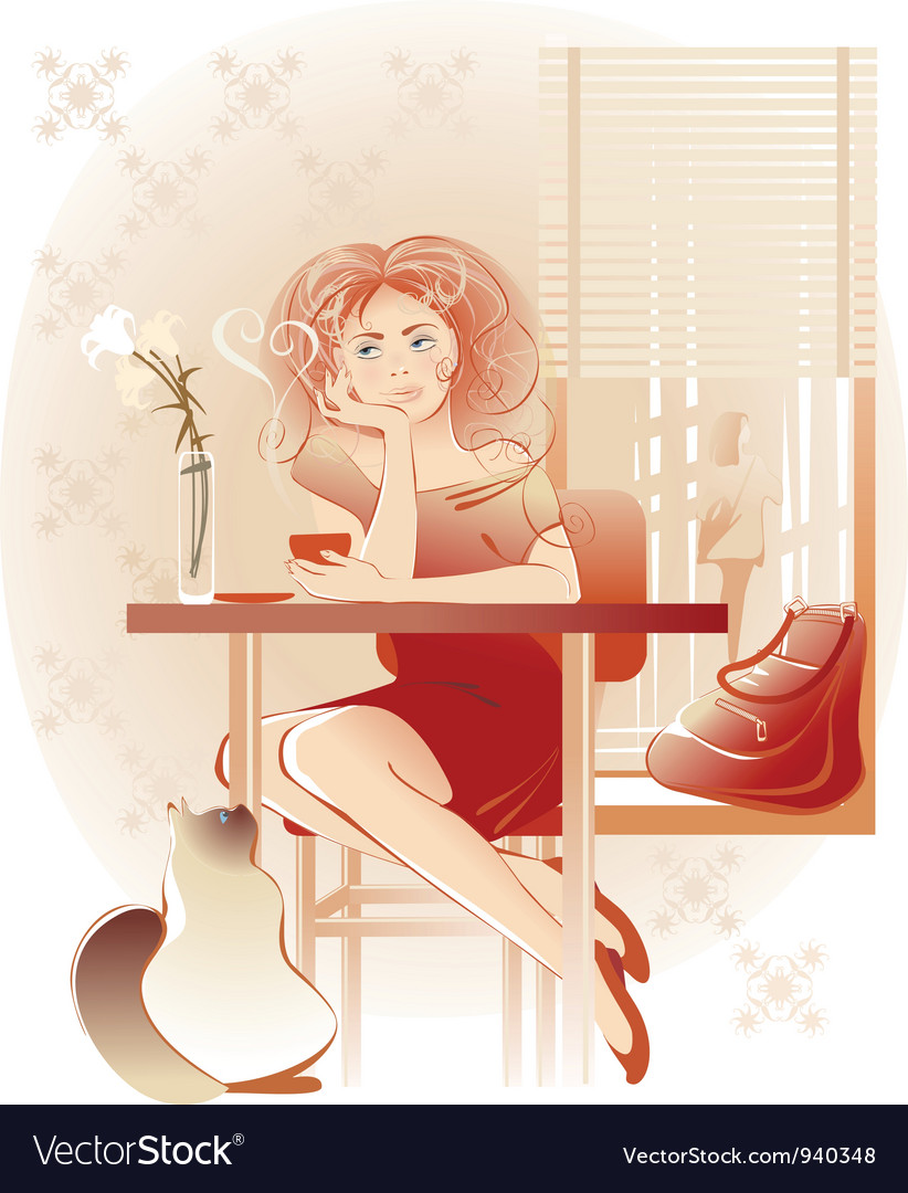 Lady coffee vector | Price: 3 Credit (USD $3)