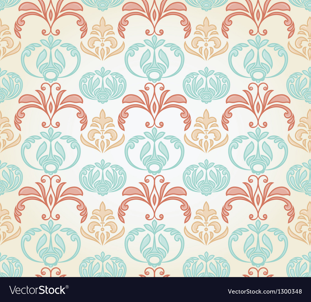 Retro seamless floral pattern vector | Price: 1 Credit (USD $1)