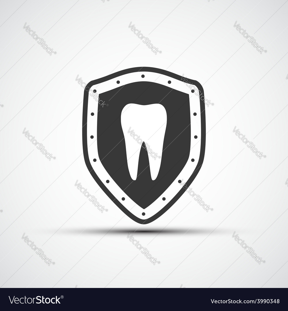 Shield with a human tooth vector | Price: 1 Credit (USD $1)