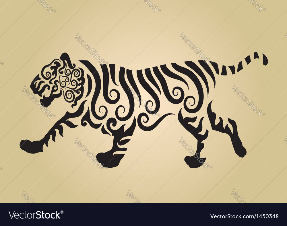 Tiger ornament decoration vector | Price: 1 Credit (USD $1)