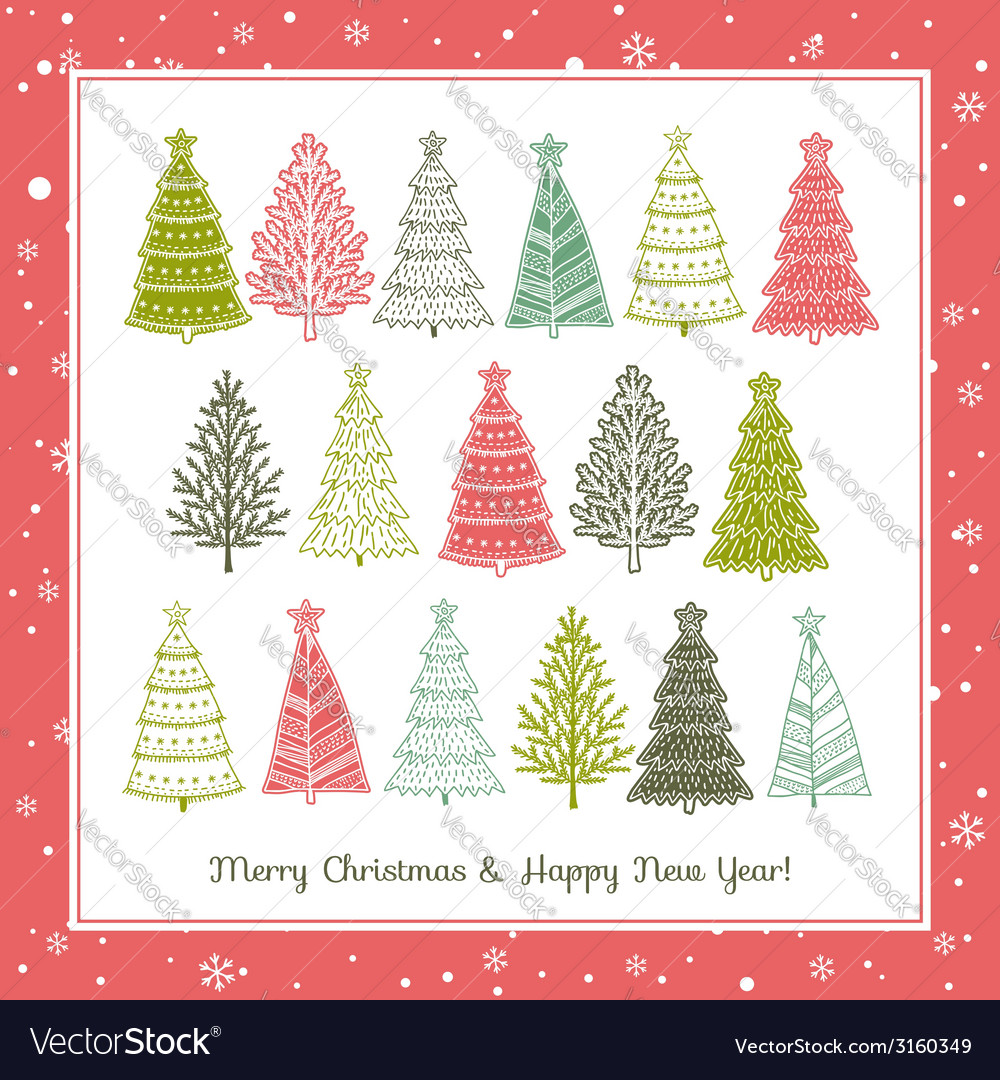 Christmas background with forest of christmas tree vector | Price: 1 Credit (USD $1)