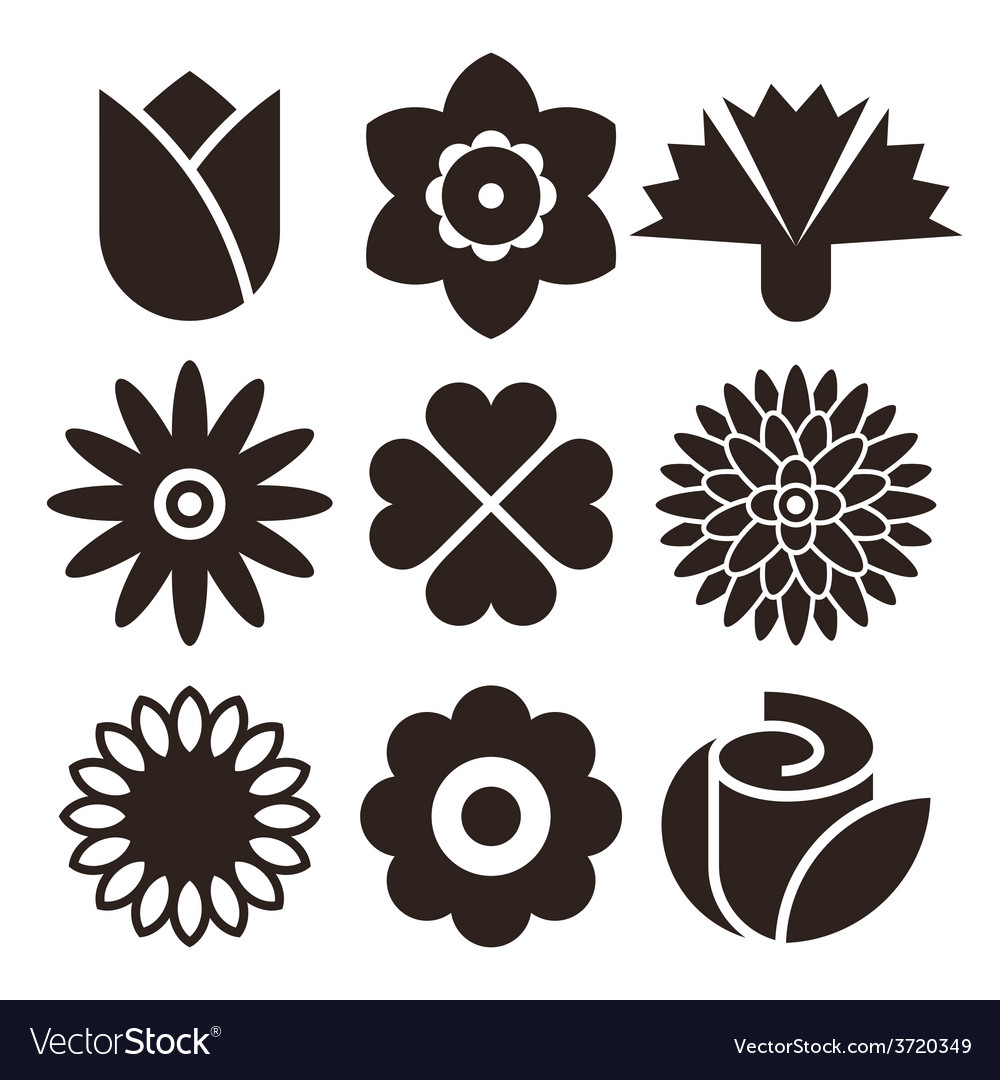 Flower icon set vector | Price: 1 Credit (USD $1)
