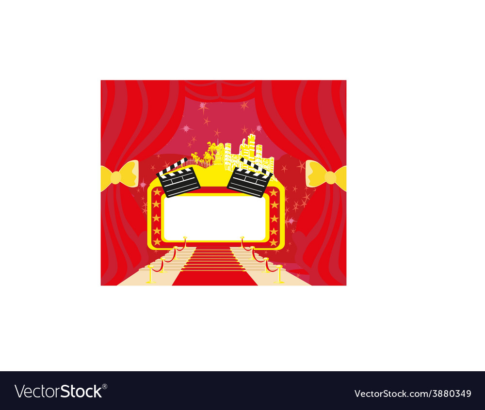 Red carpet hollywood premier abstract cardmovie vector | Price: 1 Credit (USD $1)