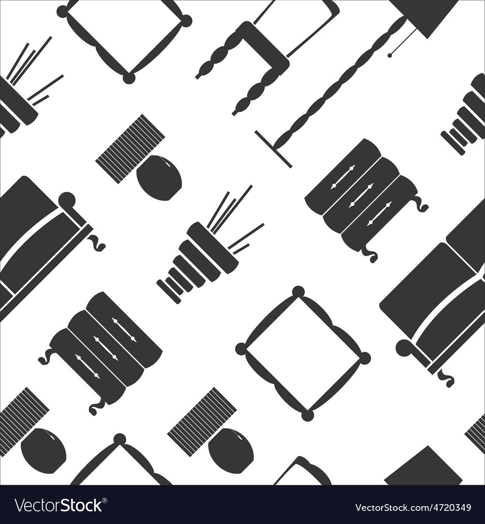 Seamless pattern with flat furniture icons vector | Price: 1 Credit (USD $1)