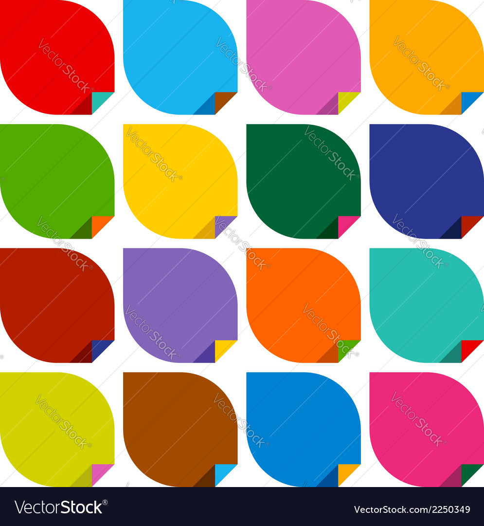 Set of 16 blank stickers with bent colored angles vector | Price: 1 Credit (USD $1)