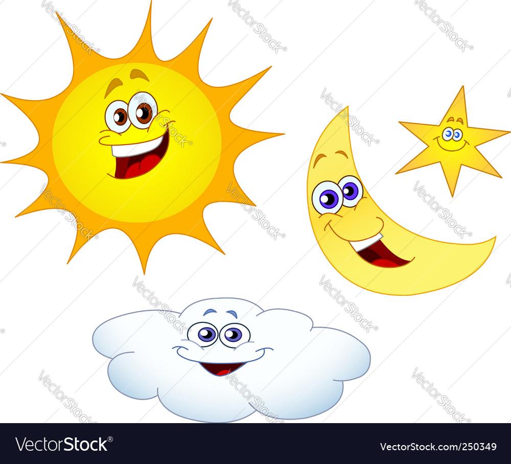 Sun moon star and cloud vector