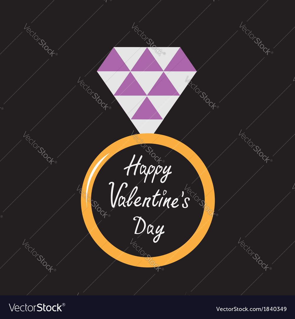 Wedding ring with purple diamond valentines day vector | Price: 1 Credit (USD $1)