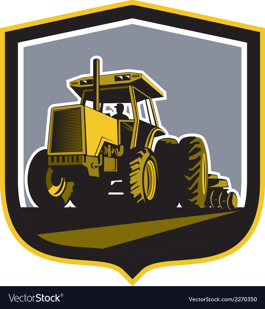 Farmer driving vintage farm tractor plowing retro vector | Price: 1 Credit (USD $1)