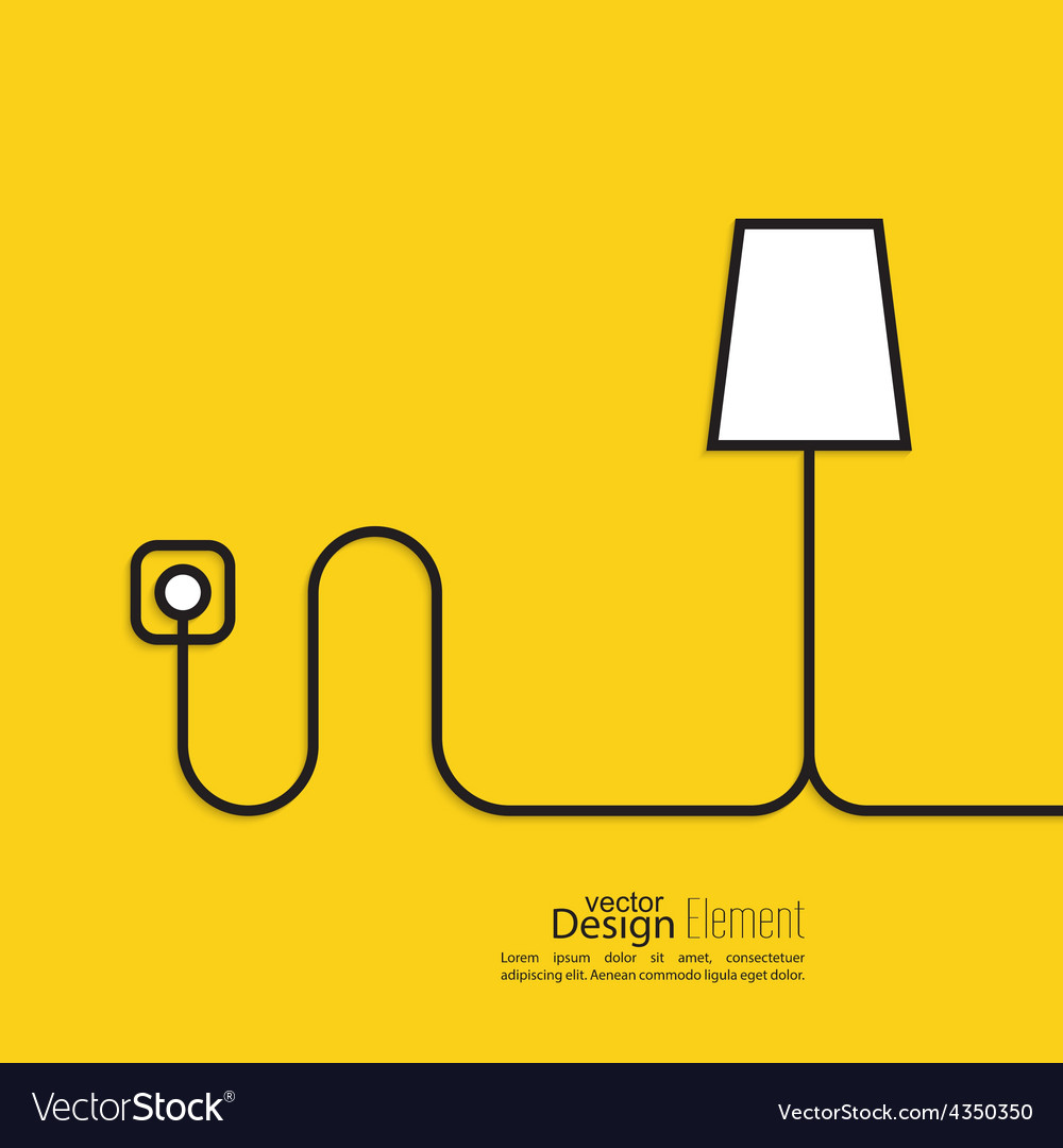 Floor lamp wire connected power outlet vector | Price: 1 Credit (USD $1)