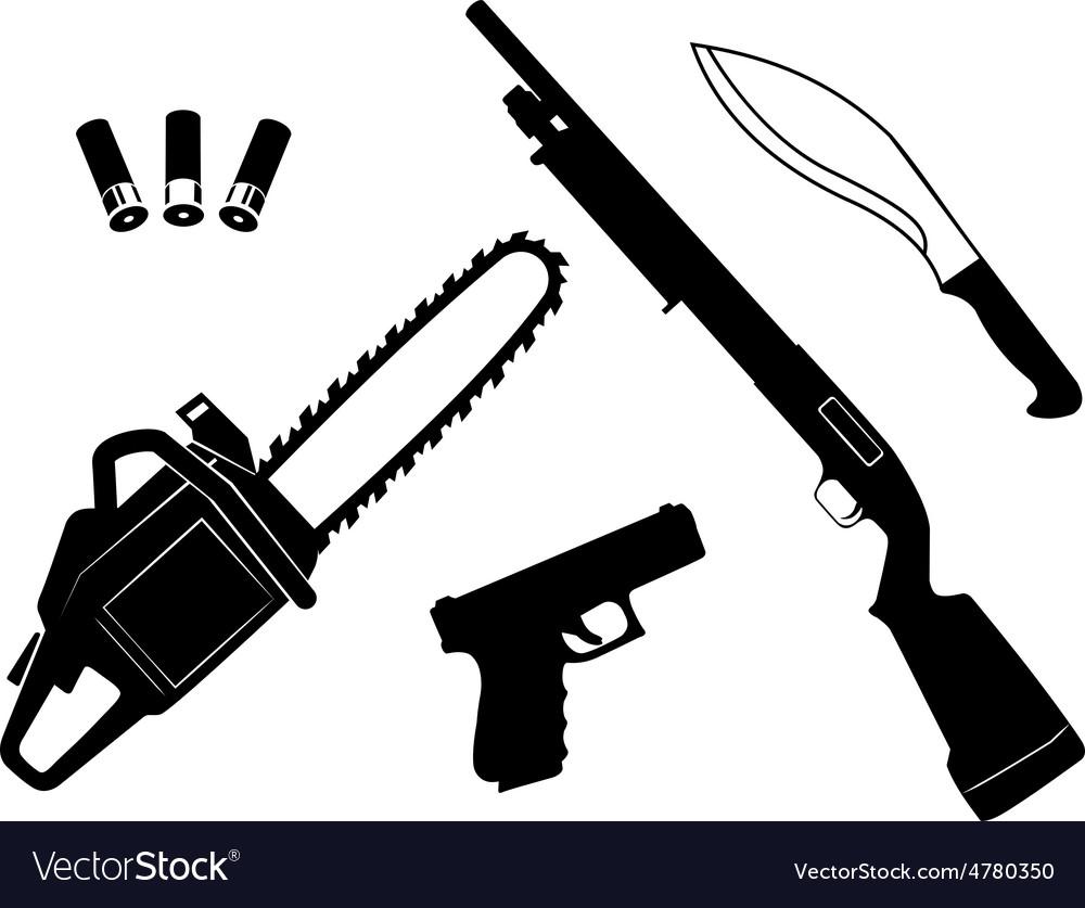 Set of gangster criminal weapons vector | Price: 1 Credit (USD $1)