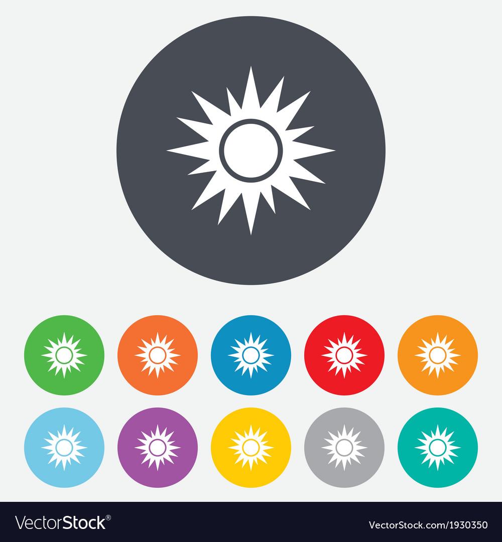 Sun sign icon solarium symbol heat button vector   Price: 1 Credit (USD $1)