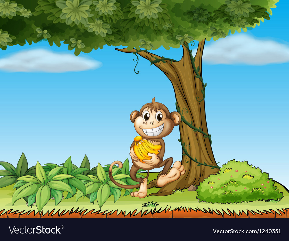 A monkey with bananas near a tree with vine plants vector | Price: 1 Credit (USD $1)