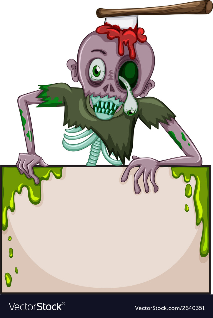 A zombie holding an empty signboard vector | Price: 3 Credit (USD $3)