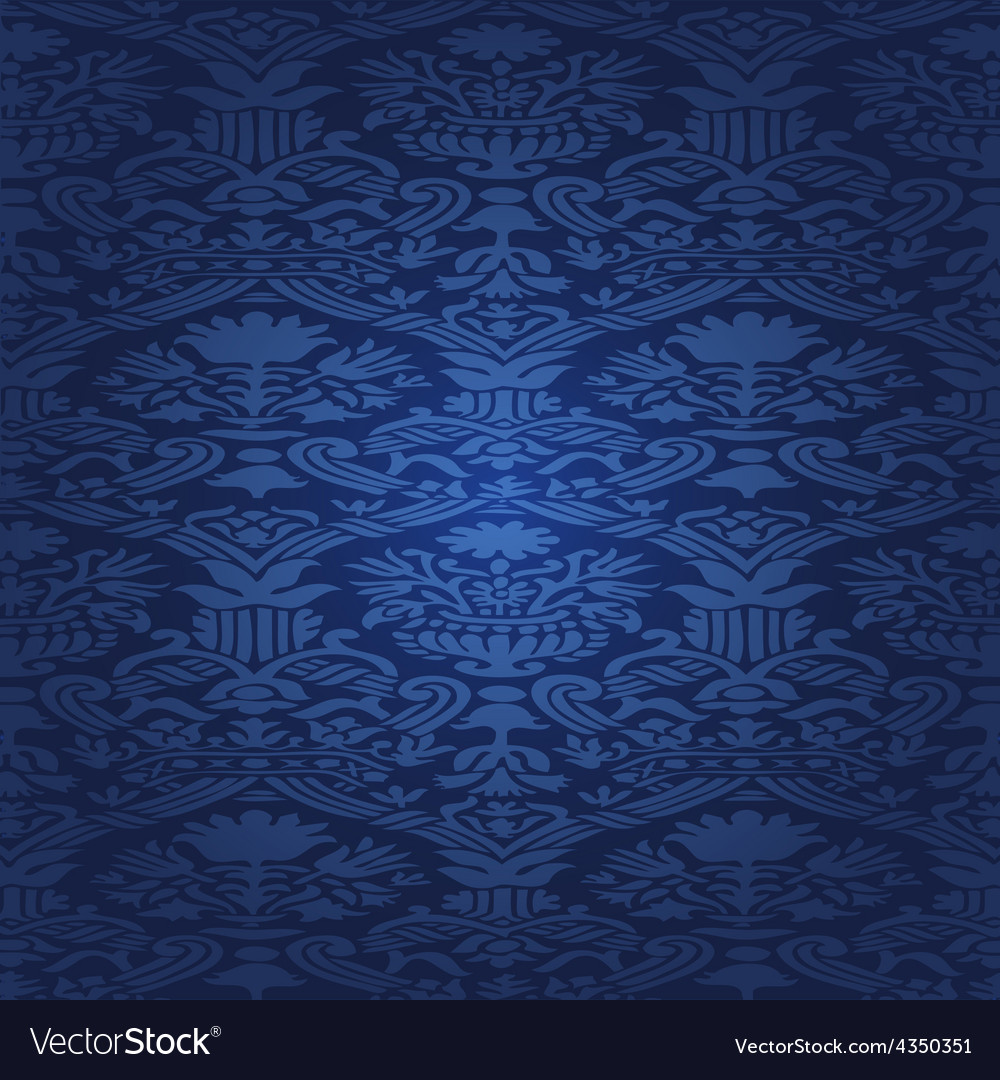 Blue seamless abstract floral pattern background vector | Price: 1 Credit (USD $1)