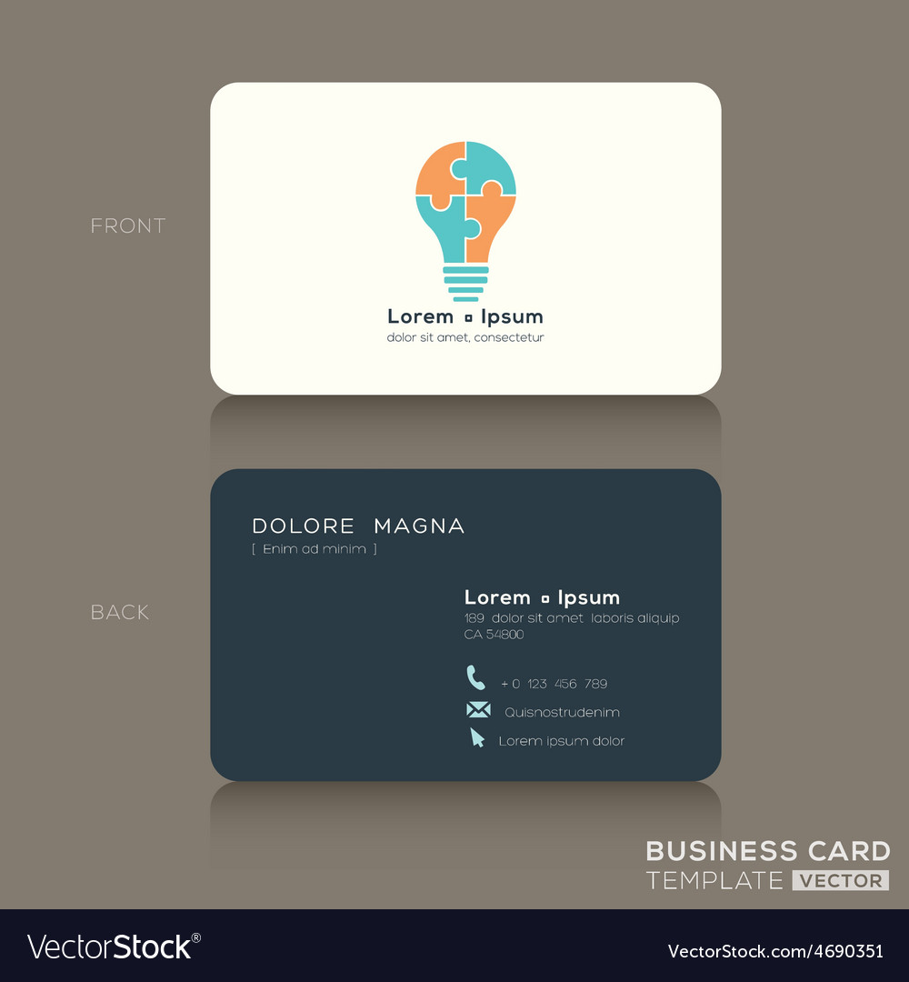 Business card with jigsaw puzzle light bulb symbol vector | Price: 1 Credit (USD $1)