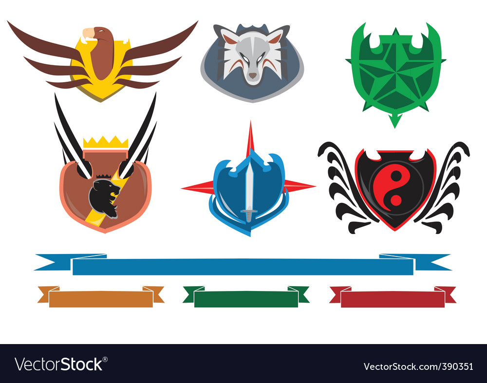 Crests and banners vector | Price: 1 Credit (USD $1)