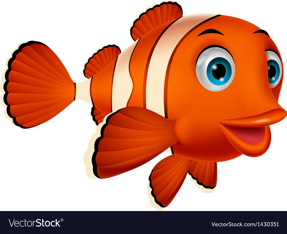 Cute clown fish cartoon vector | Price: 1 Credit (USD $1)