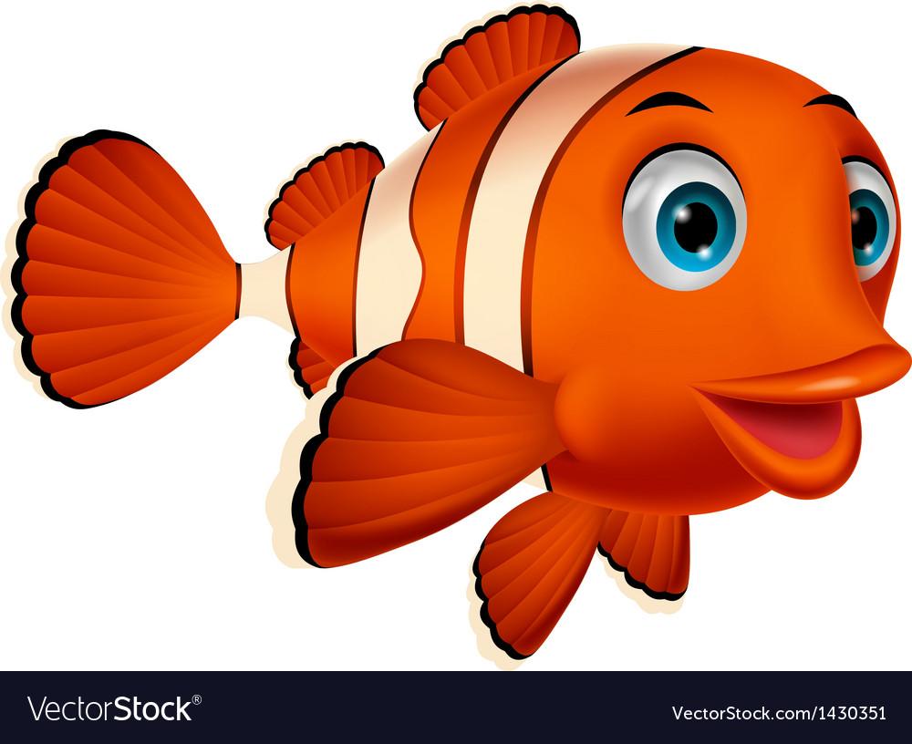 Cute clown fish cartoon vector | Price: 1 Credit (USD $1)