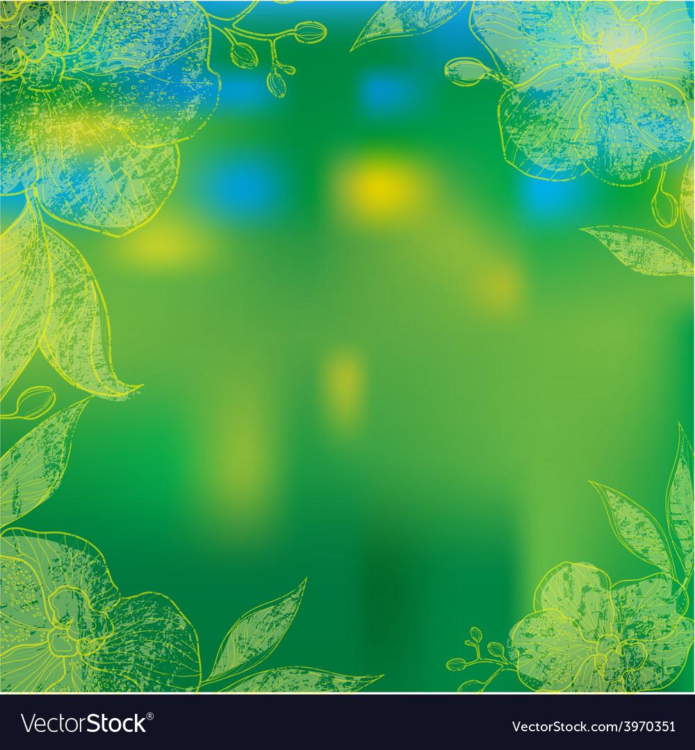 Flower orshid background frame 1 vector