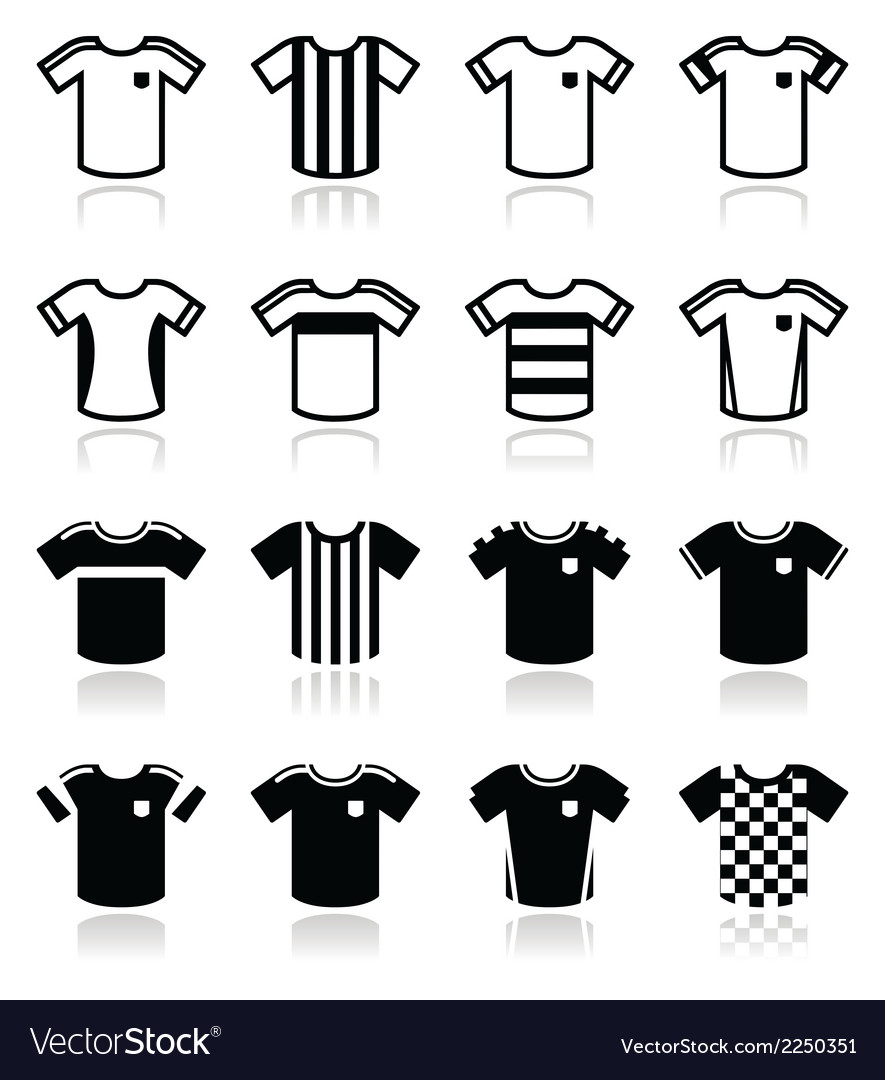Football or soccer jerseys icons set vector | Price: 1 Credit (USD $1)