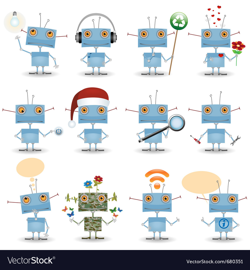 Funny cartoon robot vector | Price: 1 Credit (USD $1)