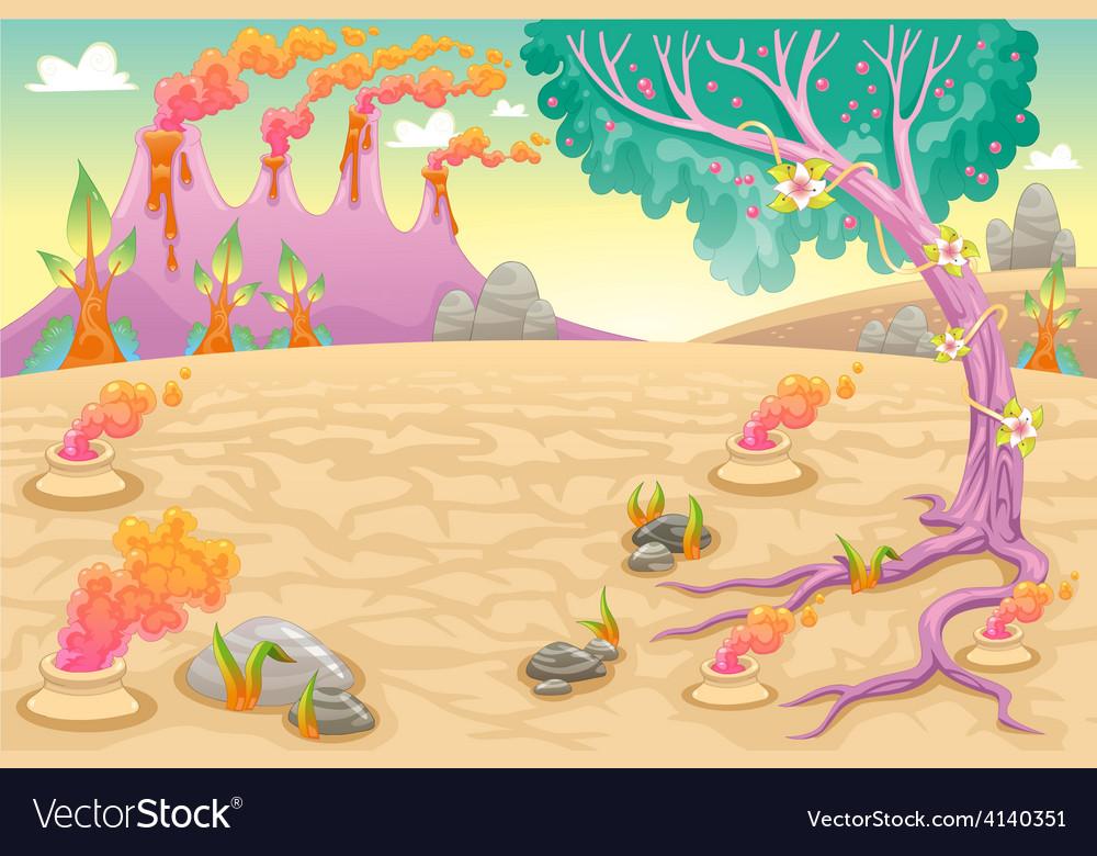 Funny prehistoric landscape vector | Price: 3 Credit (USD $3)
