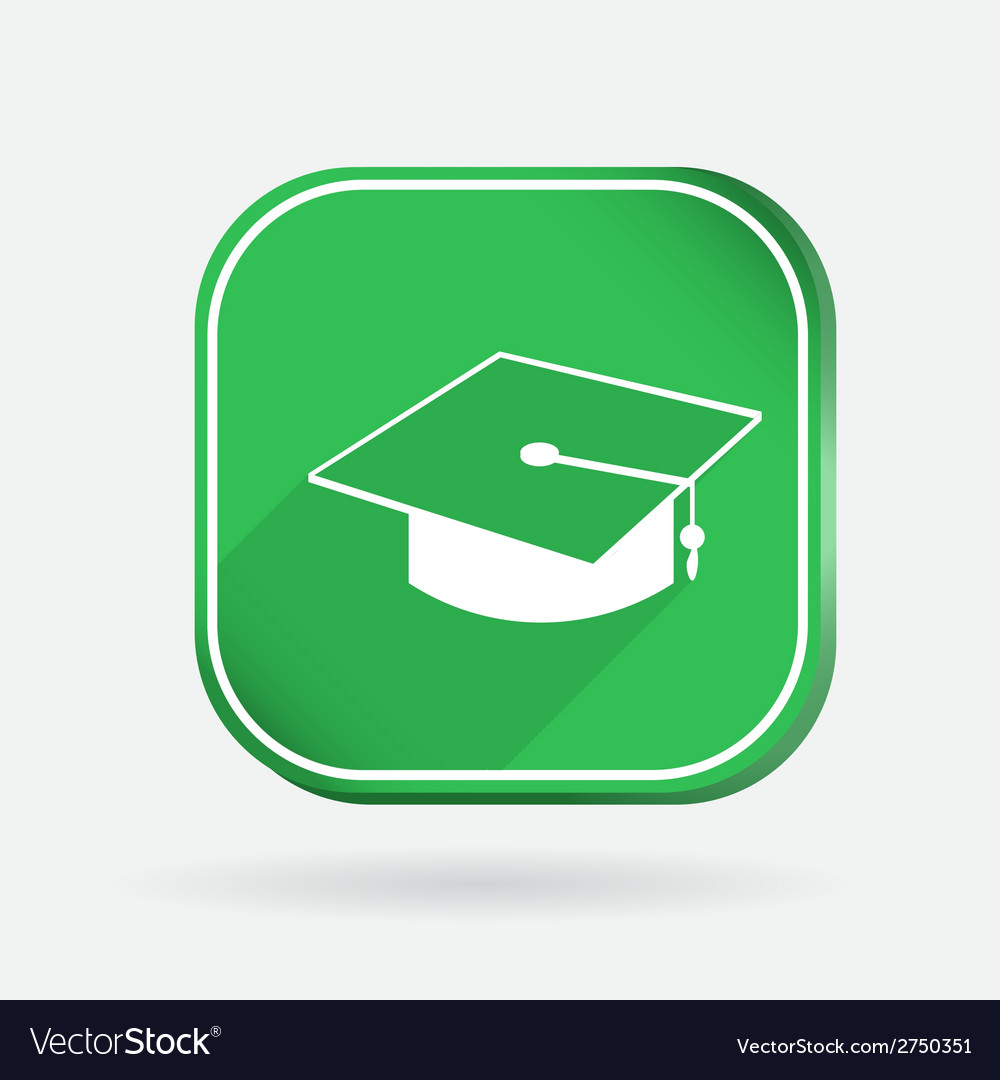 Graduate hat color square icon vector | Price: 1 Credit (USD $1)