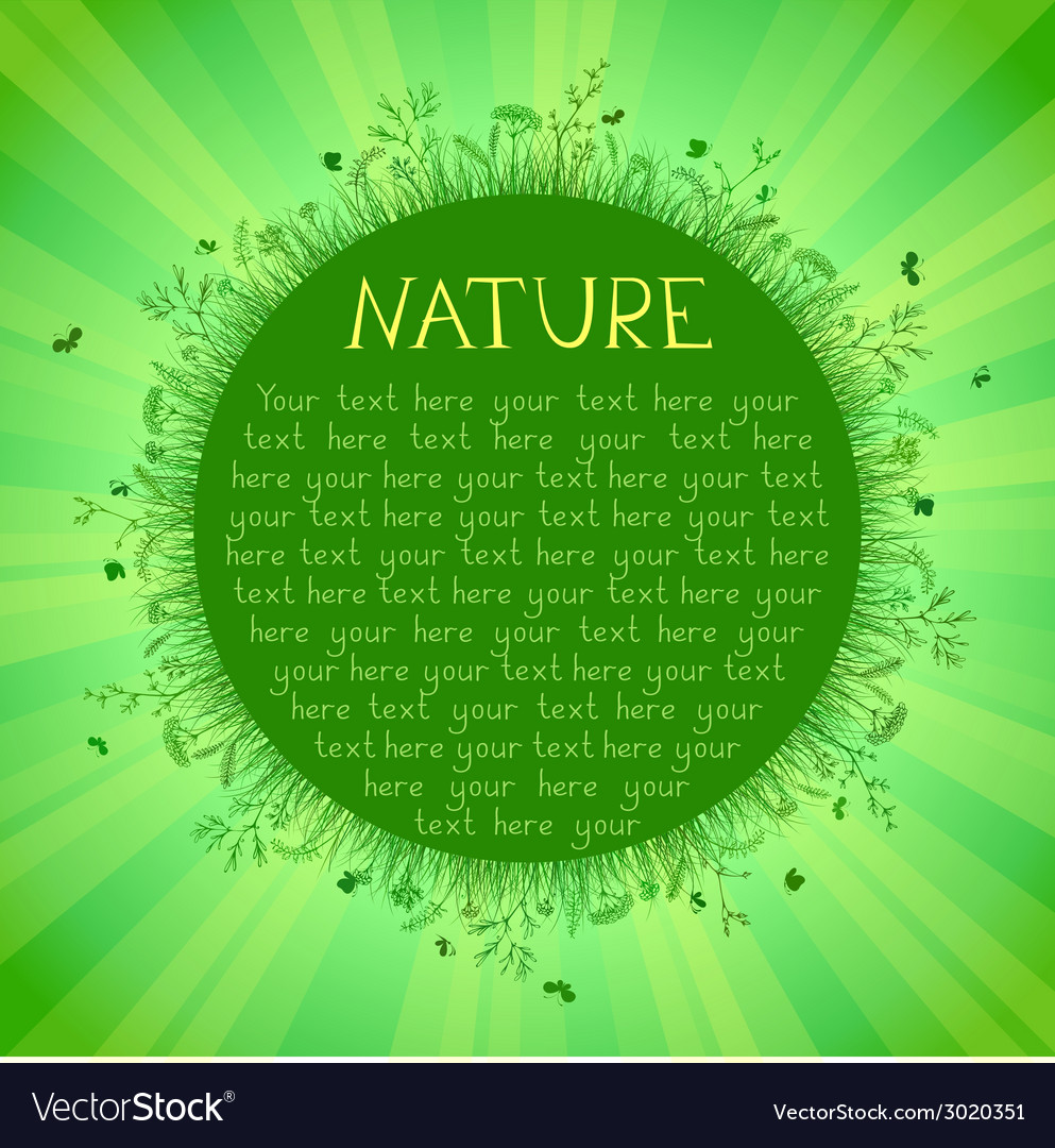 Green nature background with green grass sunburst vector | Price: 1 Credit (USD $1)