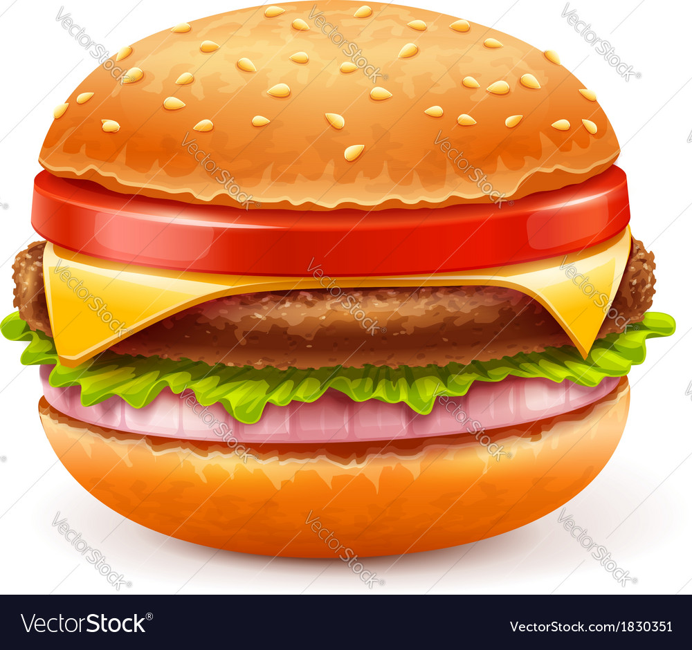 Hamburger isolated on white vector | Price: 3 Credit (USD $3)
