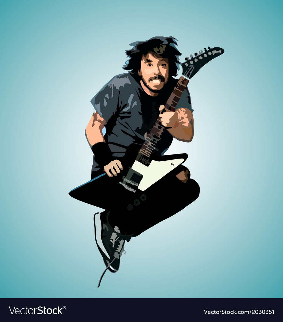 Jumping guitarist vector