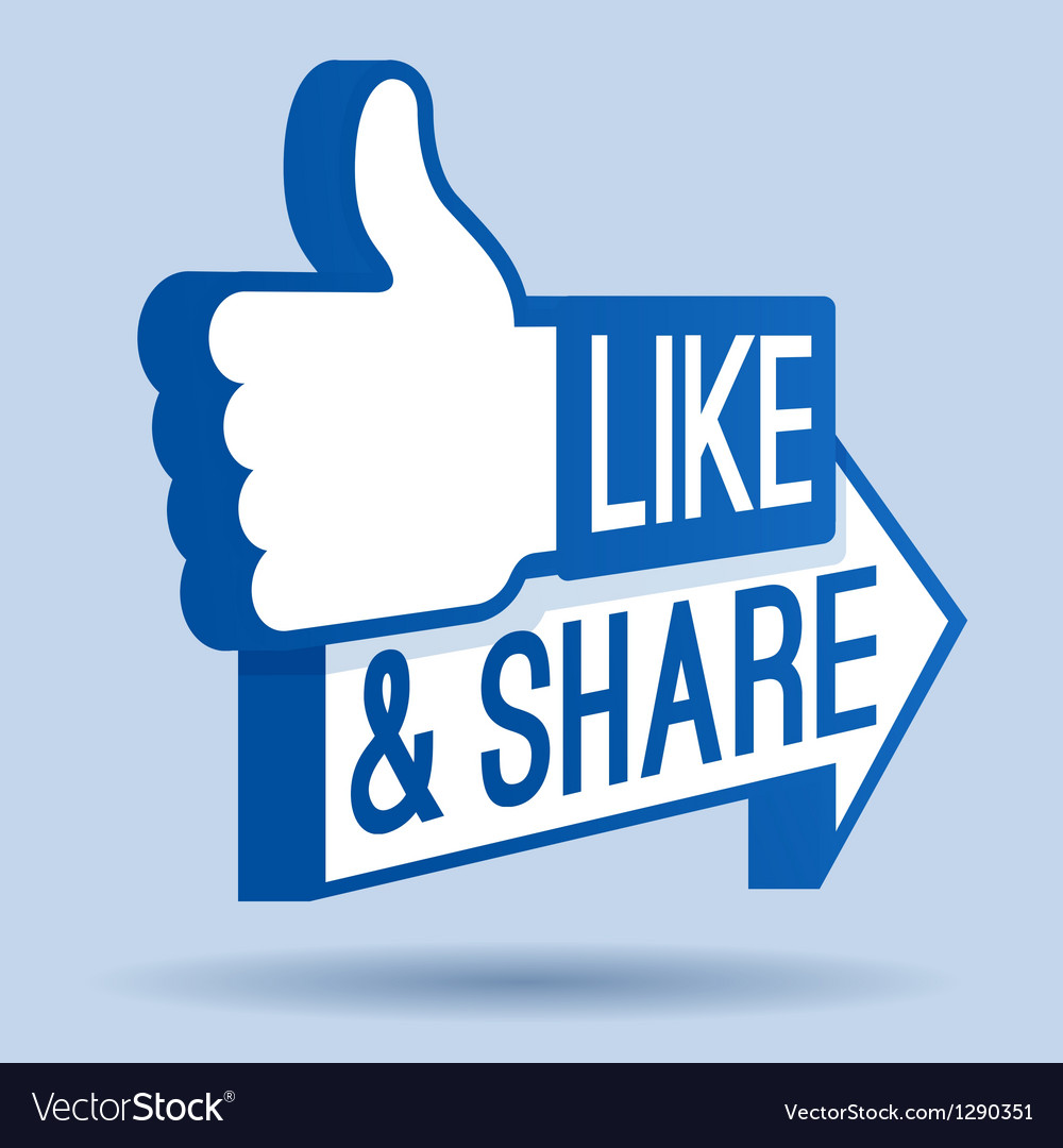 Like and share thumbs up vector | Price: 1 Credit (USD $1)