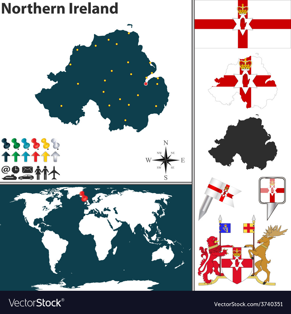 Northern ireland map world vector | Price: 1 Credit (USD $1)