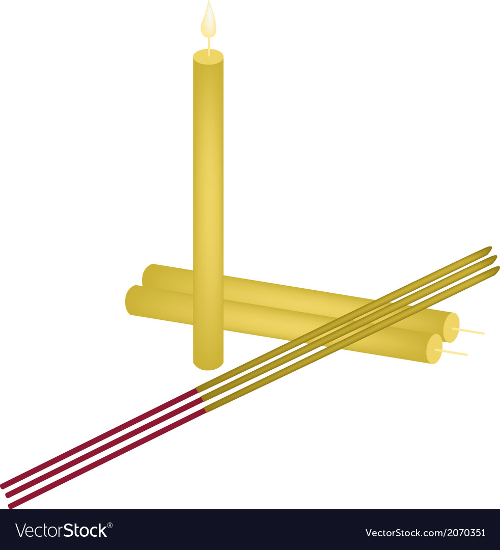 Pink lotus with joss sticks and candle vector | Price: 1 Credit (USD $1)