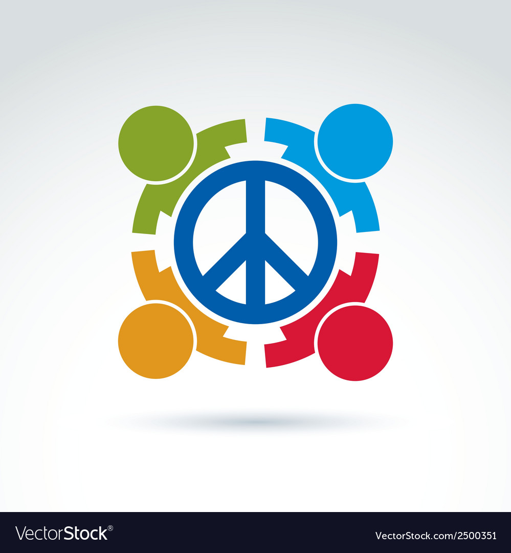 Round antiwar icon no war symbol people of all vector | Price: 1 Credit (USD $1)