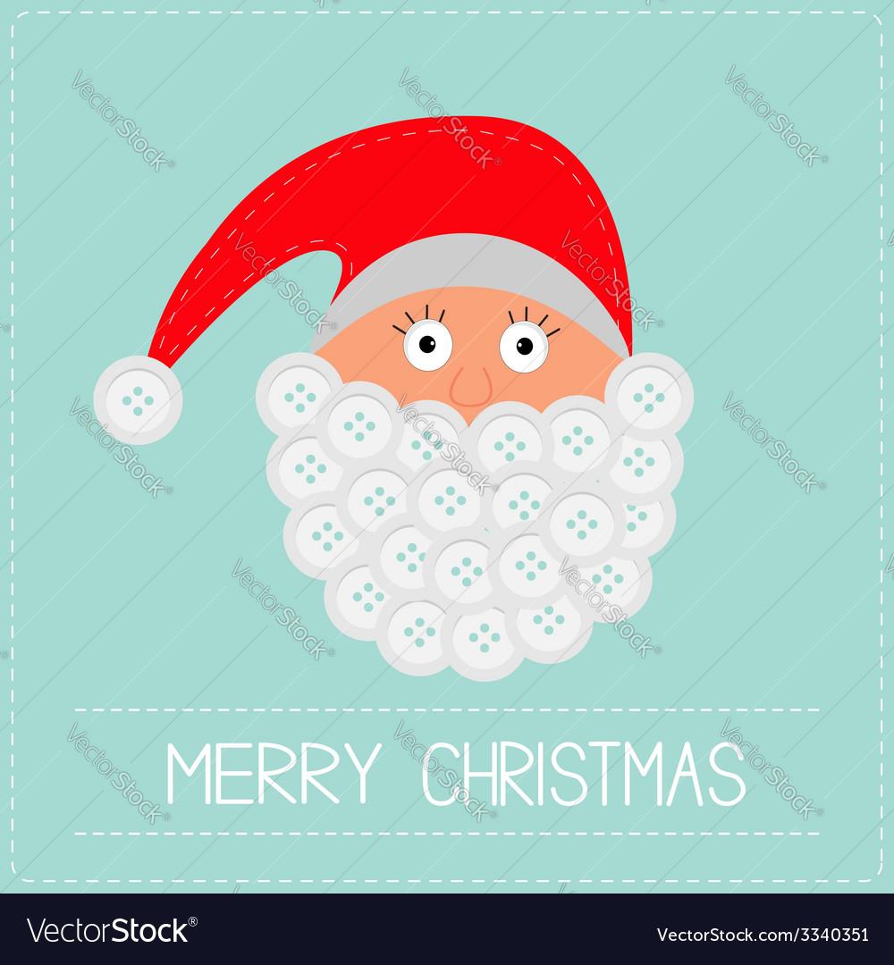 Santa claus face with button beard merry christmas vector | Price: 1 Credit (USD $1)