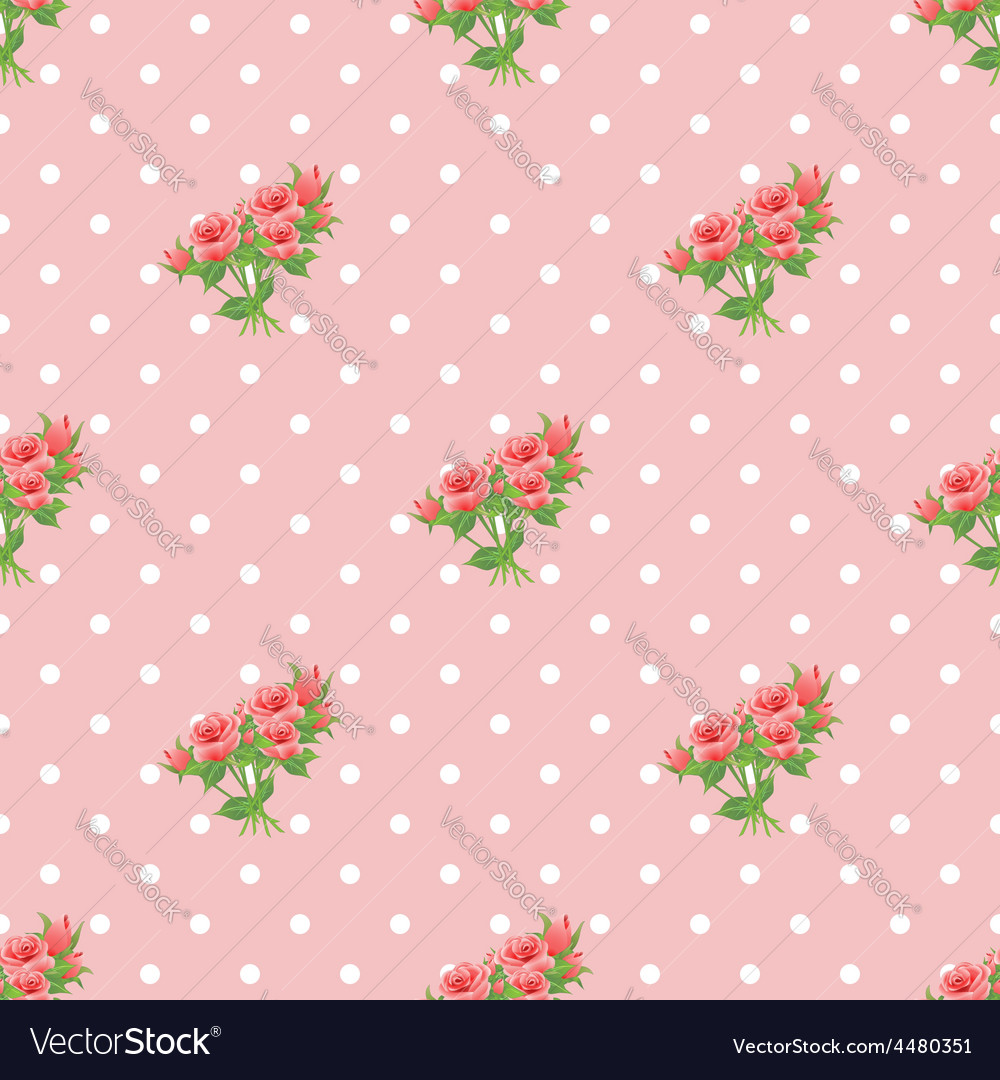 Seamless pattern with roses and polka dots vector | Price: 1 Credit (USD $1)