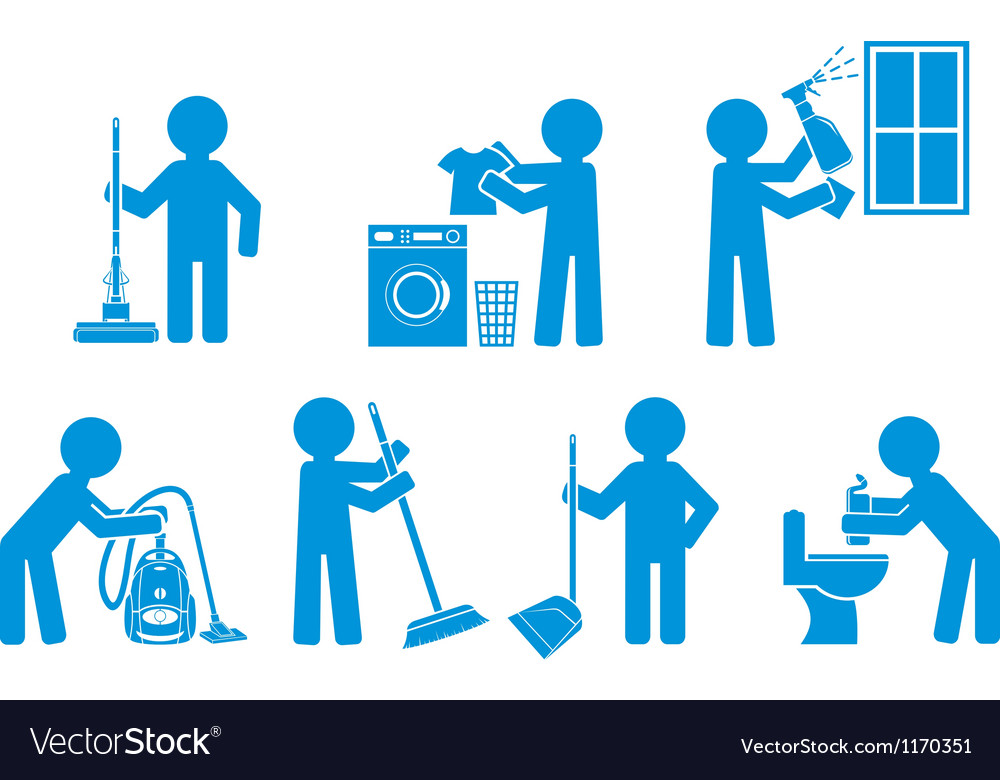 Set of icon cleaning with figure people vector | Price: 1 Credit (USD $1)