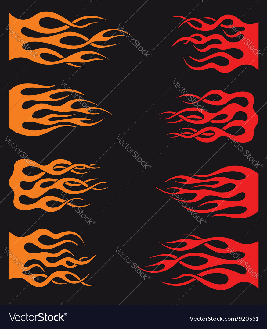 Set of orange and red tribal flames vector | Price: 1 Credit (USD $1)