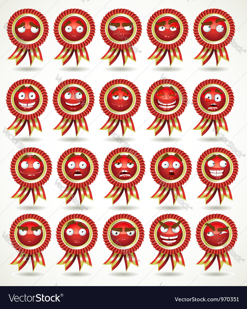 Set of red awards in various emotional states vector | Price: 1 Credit (USD $1)