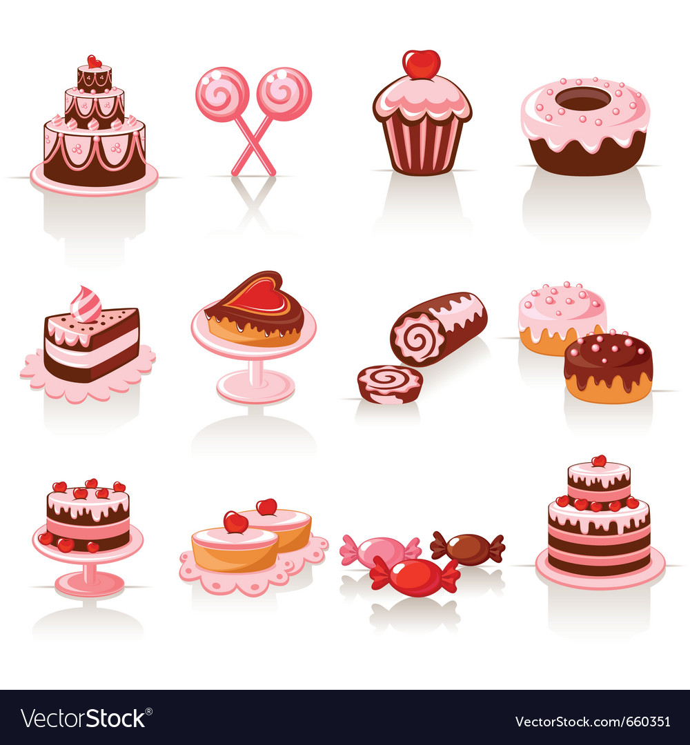 Sweet pastry icons vector | Price: 3 Credit (USD $3)