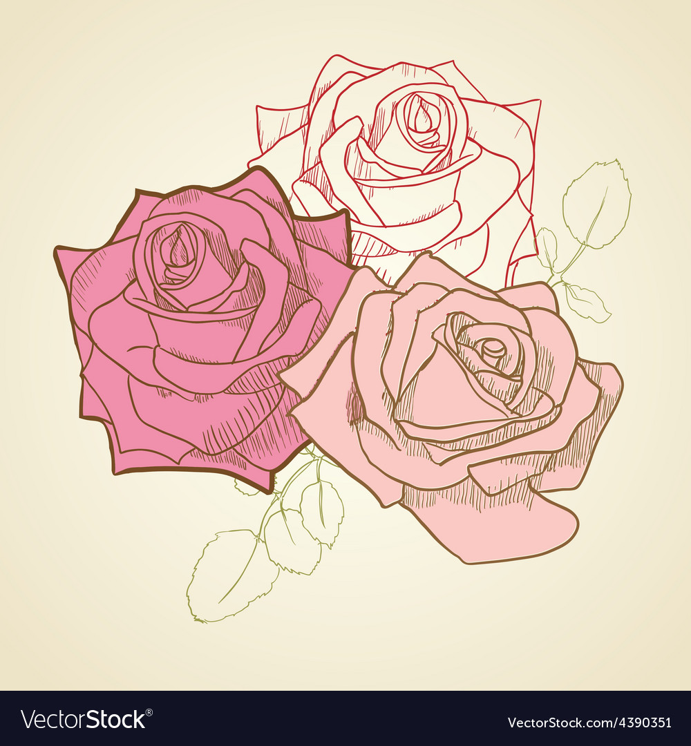 Three roses in vintage colors background vector | Price: 1 Credit (USD $1)