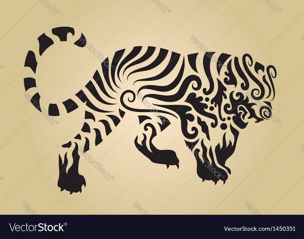 Tiger ornament decoration 3 vector | Price: 1 Credit (USD $1)
