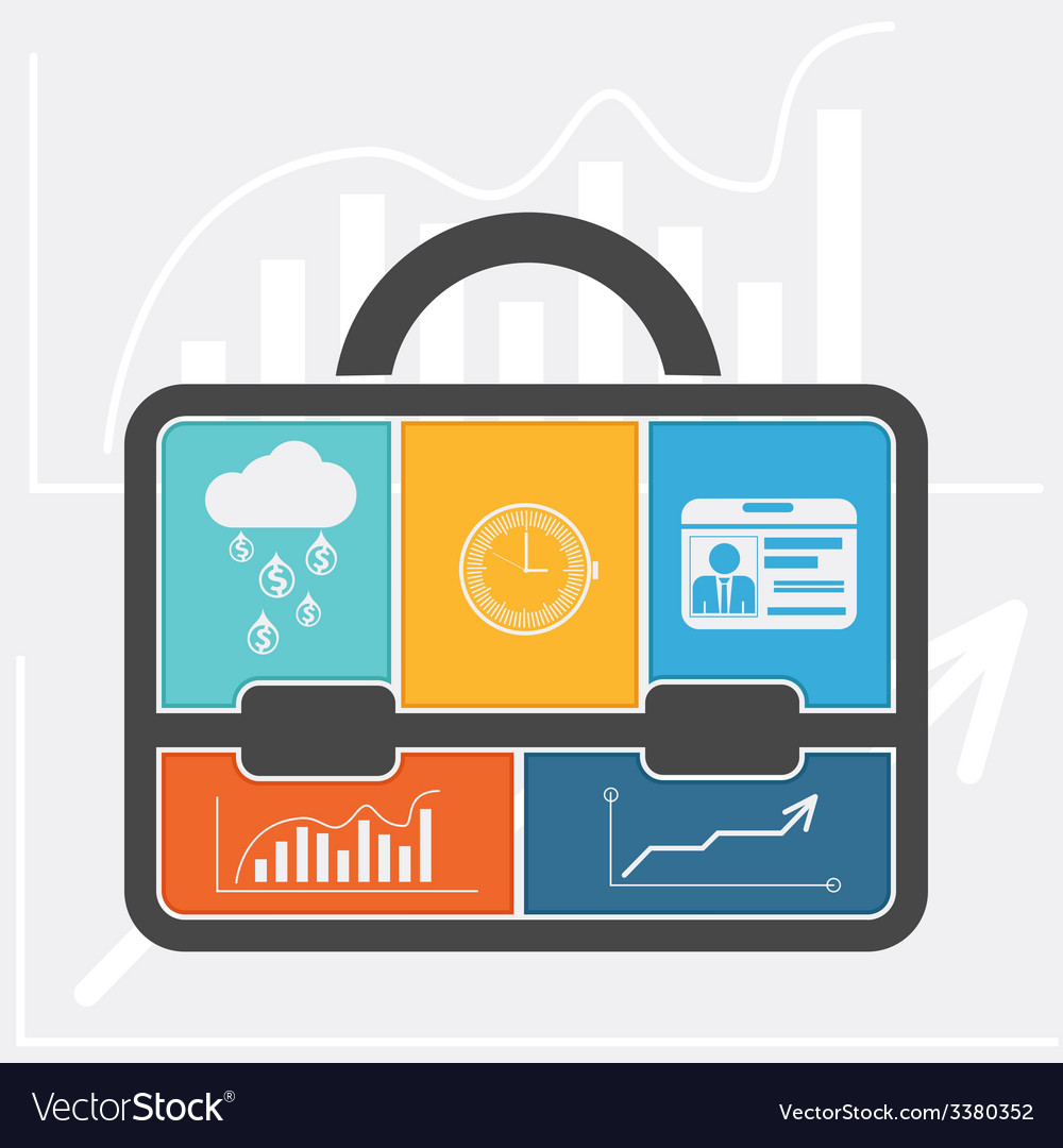 Briefcase with graph clock badge money cloud vector | Price: 1 Credit (USD $1)