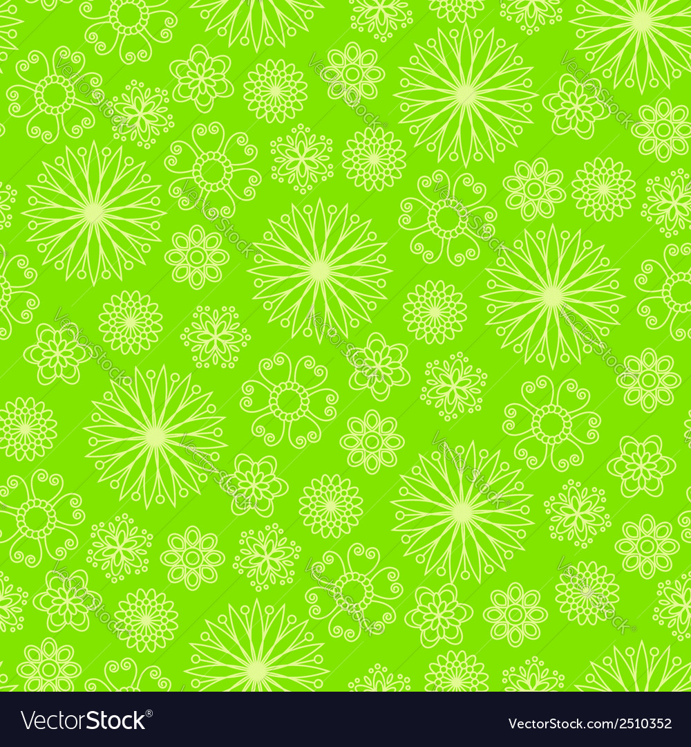 Bright green background with abstract flowers vector | Price: 1 Credit (USD $1)
