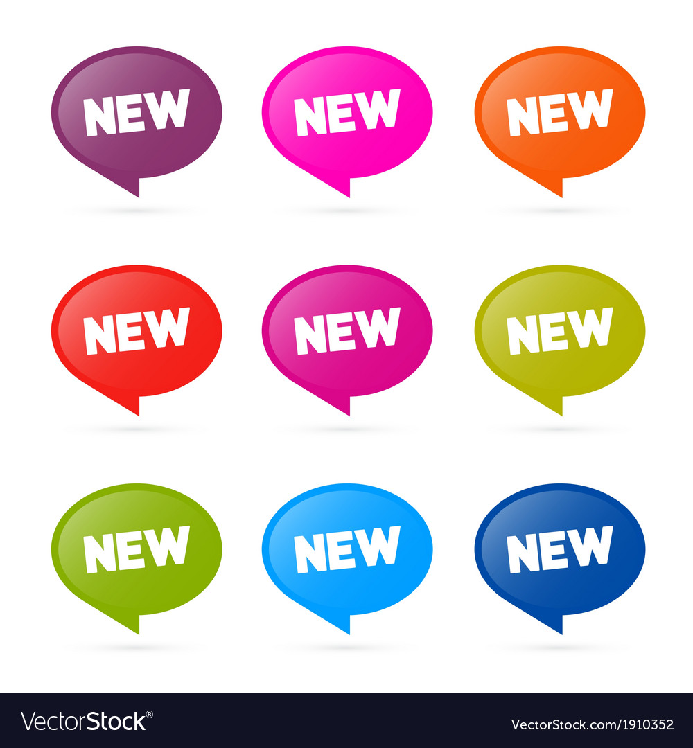 Colorful stickers with new title isolated on white vector | Price: 1 Credit (USD $1)